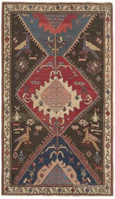 Northwest, 4ft 0in x 6ft 10in, Late 19th Century. Standing apart for its elemental, iconic imagery and eccentric character, this is among the most memorable, truly primitive nomad antique rugs we have seen. Unusually rich natural hues interplay with undyed mocha brown sheep's wool, imparting a rarely found sense of depth and presence to this Persian carpet. Strikingly personal horse and human figures join overscale bird forms in the margins of this intensely creative piece.