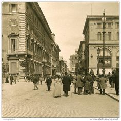 Via del Corso e Piazza Colonna Rome Best Cities In Europe, Italy Pictures, Vintage Italy, Rome Travel, Ancient Ruins, History Photos, Famous Places, Old Photos, Places To Go