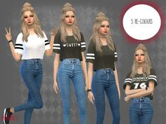 -For Teen adult and elder Found in TSR Category 'Sims 4 Female Everyday - Teen Shirts - Ideas of Teen Shirts - -For Teen adult and elder Found in TSR Category 'Sims 4 Female Everyday' The Sims, Sims 4 Tsr, Sims Cc, Sims 4 Mods, Teen Girl Outfits, Outfits For Teens, Shirts For Teens, Teen Shirts, Nikki Sims