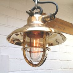 Vintage industrial light - Brass explosion proof pendant with 40w E27 filament in Maison, Luminaires, Plafonniers, lustres | eBay
