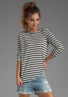 T BY ALEXANDER WANG Linen Stripe Long Sleeve Tee in Ink/Ivory at Revolve Clothing - Free Shipping!