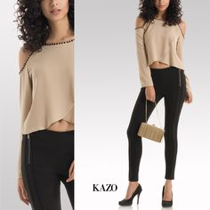 #‎TrendAlert‬ ladies! The ‪#‎ColdShoulder‬ trend is back with a bang.  Get the look right with this embellished top from KAZO and pair it with your favorite jeggings for a party-perfect style.  ‪#‎KAZOSummerGlam‬