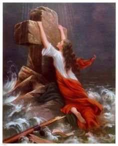 I dearly love this painting! It is true, we have to cling to Jesus when the awful trials of life come our way. He sustains us, and gives us strength to carry on!