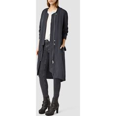 AllSaints Elio Bomber Parka Coat ($340) ❤ liked on Polyvore featuring outerwear, coats, ink blue, bomber parka, bomber coat, woolen coat, wool coat and wool bomber coat