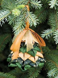"This no-sew Christmas tree ornament pattern is a breeze!   The complete no-sew pattern includes step-by-step photo diagrams and instructions to create a beautiful ornament for your Christmas tree, or just to decorate around the house. Perfect for kids and adults alike, you can finish this lovely design in about an hour. A tree-shaped Styrofoam® piece is needed to secure the pins in place. Finished size is approximately 1 1/2"" x 2""."