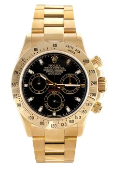 - Item number: 116528 - Brand: Rolex - Style Number: 116528 - Series: Daytona - Style: Mens - Case Material: 18kt Yellow Gold - Dial Color: Black Face - stunning Rolex. - Watch Bracelet / Strap: 18k Y