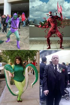 We have some Spider-Man Villains for you including Green Goblin, Carnage, Princess Python and Kingpin. Costumers from top left are Eric, Larry, Mark-Kate and Sam.     Carnage photo by Brian Humphrey. Princess Python photo by Al Butler.    Marvel's use of all photos are governed by the Marvel.com Terms of Use and Privacy Policy. We are no longer accepting cosplay submissions for Costoberfest 2012!
