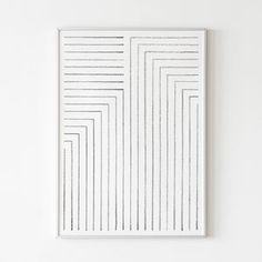 ART IMPRIMABLE - IMPRIMÉ GÉOMÉTRIQUE NOIR ET BLANC Téléchargez instantanément les fichiers et imprimez à partir de la maison. Cette liste est pour un imprimé minimaliste, propre et géométrique composé de rayures noires et blanches. La conception crée un gradient global de l'obscurité à la lumière. Abstract Line Art, Abstract Print, Art Abstrait Ligne, Black And White Lines, Mid Century Art, Black Decor, Modern Prints, Line Drawing, Canvas Art Prints