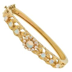 Pre-owned 14K Yellow Gold Opal& Diamonds Bracelet ($2,199) ❤ liked on Polyvore featuring jewelry, bracelets, yellow gold bangle, yellow gold jewelry, 14 karat gold bangles, gold jewelry and diamond bangles