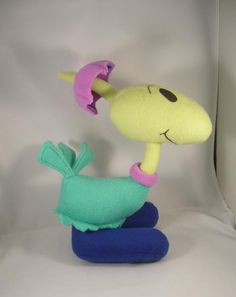 "a custom plush of Gogo Dodo (from ""Tiny Toon Adventures""), by DeviantArt user ""Pandari"" Story Characters, Cartoon Characters, Daffy Duck, Warner Brothers, Looney Tunes, The Duff, Bones, Dinosaur Stuffed Animal, Plush"