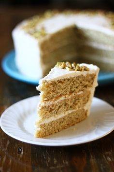Pistachio Cake with Honey Vanilla Frosting