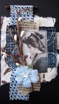size made from vintage kimono fabrics, prayer book papers,image sprinted onto organza. Collages, Mixed Media Collage, Collage Art, Art Altéré, Asian Cards, Fabric Journals, Textiles, Art Textile, Fabric Art