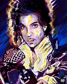 """WHEN DOVES CRY!! I created this Prince Art with a mixed-medium process. Painted with many different stroke styles to reflect the feeling of the music, using wacom, acrylic, watercolor and spraypaint.  This is a high-quality original print on lustre photopaper, and shipped in secure packaging to protect quality and safety of the work. MAILING: Prints are mailed USPS Priority mail 2-3 day, most delivered flat on cardstock in cellophane, in a sturdy industrial envelope or box. 16x20"""" ship in…"""