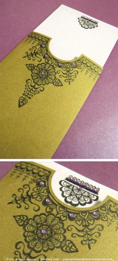 I'll be heading to a henna party this evening for one of my friends who is a bride-to-be. In some Middle Eastern, East and West Indian cultures, it is customary for women to apply a decorative des. Envelopes, Paper Art, Paper Crafts, Ideias Diy, Scrapbooking, Henna Designs, Diy Cards, Mehndi, Mini Albums
