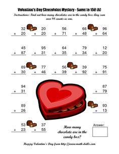 Chocolates Mystery Two-Digit Plus Two-Digit Addition (A) Math Worksheet #freemath