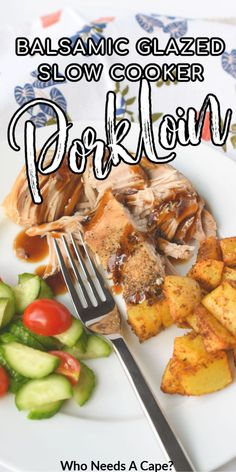 Slow Cooker Brown Sugar & Balsamic Glazed Pork Loin so tender & flavorful. Cooked in a crockpot and topped with a sweet & tangy sauce that won't disappoint. Slow Cooker Pork Loin, Slow Cooker Freezer Meals, Slow Cooker Recipes, Crockpot Recipes, Cooking Recipes, Best Pork Recipe, Pork Recipes, Family Recipes, Slow Cooking
