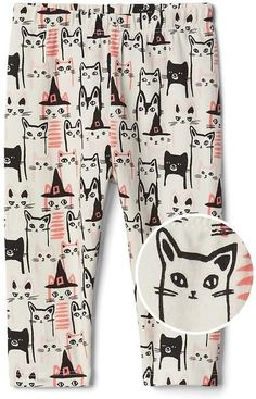 Halloween cat stretch jersey leggings | kids | fashion | girls | leggings | fall | clothes | outfits | cute |