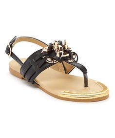 Love this Black Woven Chain T-Strap Sandal by Rya on #zulily! #zulilyfinds