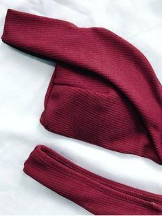 0565ff04cfb94 V Plunge Off The Shoulder Bikini - BURGUNDY L Mobile Burgundy Bikini
