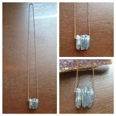 Raw Blue Quartz Necklace by YoungHeartsDesigns on Etsy