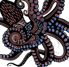 Print - Linocut by Laurel Macdonald. O is for Octopus (2016)