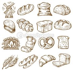 Vector hand drawn bread icons set on white