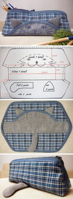 Cat Pencil Case Pattern and Tutorial Pencil Case Pattern, Pencil Case Tutorial, Diy Pencil Case, Wallet Pattern, Cat Pattern, Patchwork Bags, Quilted Bag, Bag Patterns To Sew, Sewing Patterns