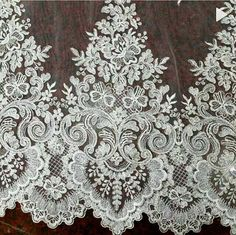 limited stock Beaded alencon lace trim in ivory for wedding gown,bridal veil making, costumes this is special design made for France shows, top quality and vintage Victoria feeling limited stock, if you like, take it now Height is about 41 cm , price is for one yard . my shop link: http://www.etsy.com/shop/lacetime Thank for shopping and have a nice day forever ! ----------------------------****-----****--------------------- ------------------------***--------------...