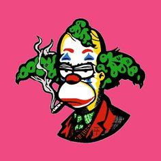 Joker Krusty Joaquin Phoenix - The Simpson - T-Shirt Simpsons Drawings, Simpsons Art, Cartoon Drawings, Cartoon Art, Trippy Drawings, Cool Art Drawings, Blackwork, Krusty The Clown, Clown Tattoo