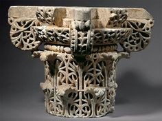 Carved marble capital Spain, al-Andalus, Umayyad period, ca. 950– 970. Marble 28 cm in each direction. Source: Aga Khan Museum