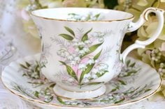 Vintage Royal Albert Springtime Series, Lily of the Valley, Gold Gilt, Fine Bone China