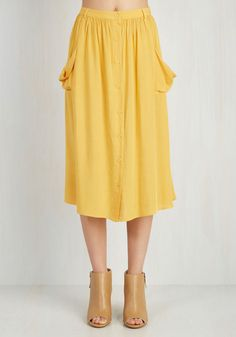 Just Dandy Skirt in Goldenrod - Casual, Vintage Inspired, 70s, Yellow, Solid, Buttons, Pockets, Variation, Basic, Urban, Yellow, Gifts Sale, Best Seller, Spring, Summer, A-line, Festival, Boho, Good, Long