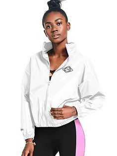 Victoria's Secret Pink Anorak Windbreaker Jacket Full-Zip, White, M-L at Amazon Women's Coats Shop