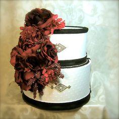 Black White & Red Wedding Card Box Reception by WrapsodyandInk