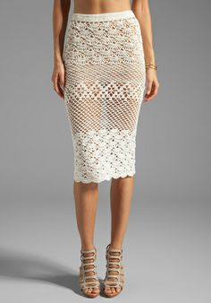SPELL & THE GYPSY COLLECTIVE Coconut Crochet Skirt in Off White at Revolve Clothing -    via:revolveclothing.com