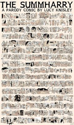 THE SUMMHARY! The Complete Story of Harry Potter Illustrated in 8 Posters by Lucy Knisley. Nightmare for the book's fans, a dream for those who don't read, and a treat for those who just appreciate art.