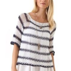 """HP Indah Bay Hand Crocheted Raglan Sweater Beautiful crocheted navy and white striped sweater. Great to layer with. 23"""" from shoulder to bottom. 3/4 sleeves, loose fit. No trades but open to offers! Indah Sweaters"""