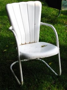 Vintage metal lawn chair.  I will have a set of these after we buy a home.