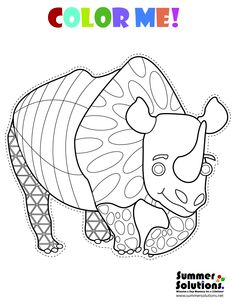 A cute rhino coloring page.