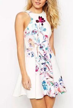 White Sleeveless Floral Ruffle Slim Dress - Sheinside.com