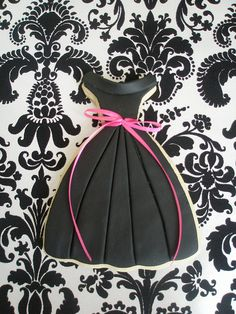 """little black dress"" cookie. so adorable  (could make wedding dress cookies too for a shower)"