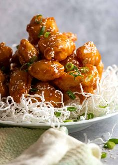 Pile of Honey Chicken on a plate - built to last, stay crispy Asian Recipes, Beef Recipes, Chicken Recipes, Cooking Recipes, Ethnic Recipes, Chicken Meals, Asian Foods, Chinese Recipes, Honey Sauce For Chicken