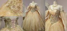 Champagne Peach Fantasy Bridal Gown by Lillyxandra.deviantart.com on @DeviantArt