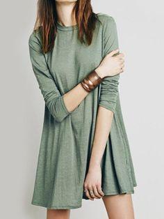 Shop Dark Sea Green Cut Out Back Long Sleeve Dress from choies.com .Free shipping Worldwide.$19.99