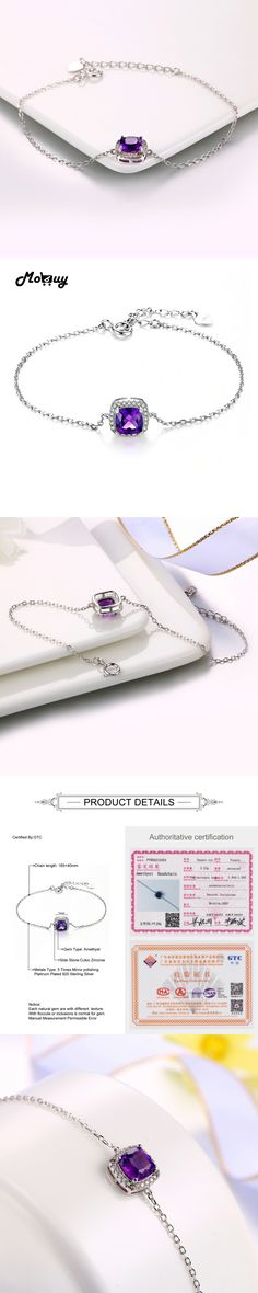 MoBuy MBHI007 Cushion Natural Gemstone Amethyst Bracelets &Bangles 925 Sterling-Silver-Jewelry White Gold Plated Chain For Women