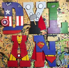 Hand-painted tall wood letters Marvel and DC Superheroes - Petra Ly. Superhero Letters, Superhero Room, Diy Letters, Painted Letters, Wood Letters, Hand Painted, Disney Princess Letter, Boy Room, Kids Room