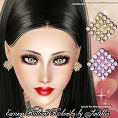 Earrings Brilliant rhombs for Sims 3 by Sintiklia - Sims 3 Downloads CC Caboodle