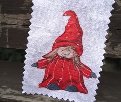 Wichtel shabby Stoffbild Patch Aufnäher Kind Zwerg von Nostalgie Gretel häkelt und schenkt auf DaWanda.com