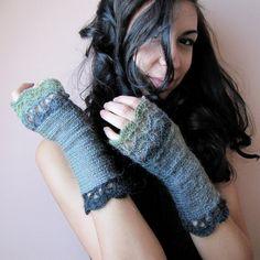 Midnight Forest  Elegant Crochet Fingerless Gloves by elfinhouse,