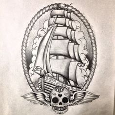 Old school ship tattoo design by Dazzbishop